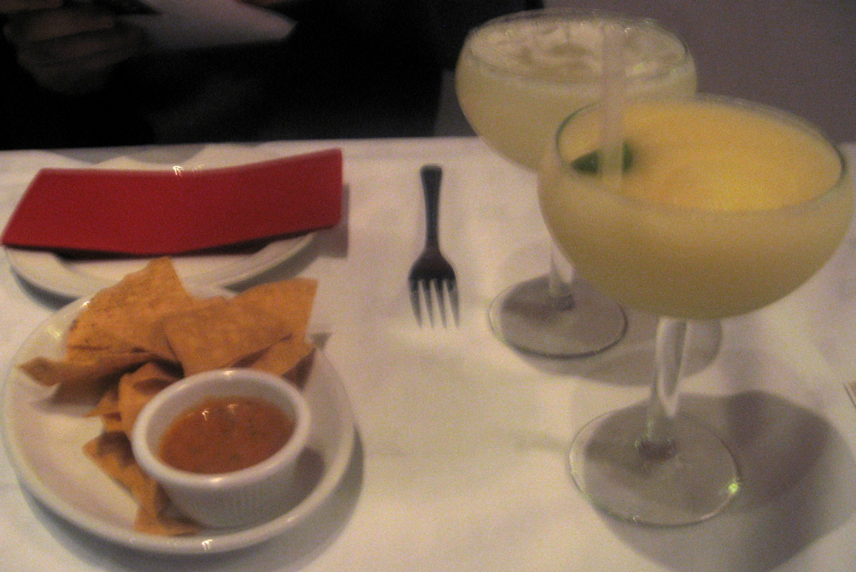 Margaritas and tortilla chips